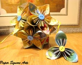 Sunny Skies Earthy Flower Ball Arrangement- Kusudama Paper Ball - Origami Flower Ball in Sky Blue and Earthy Yellow and Green tones