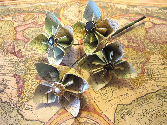 Upcycled Atlas Map Vintage Paper Kusudama Flower Bouquet- Made with paper from 1963 Readers Digest Atlas First Edition