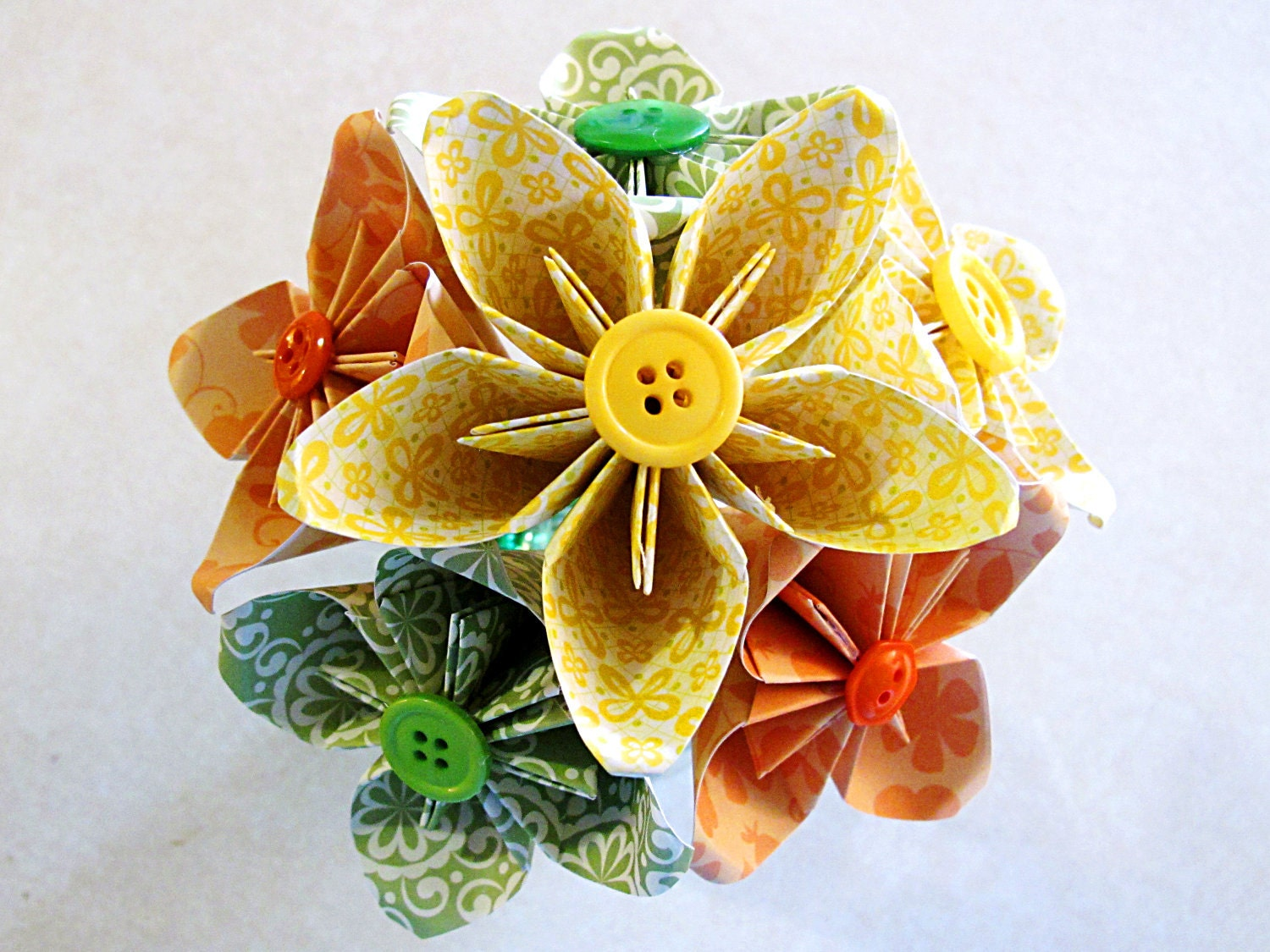 Citrus Paper Flower Bouquet with Vase included 6 flowers