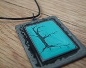 Mint Key Lime Print Pendant Necklace