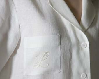 Luxury Pure Linen Personalized Pajama Shirt  for Woman with Embroidered Monogram On Pocket and Bag