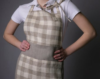 Pure Linen Apron Natural/Checked