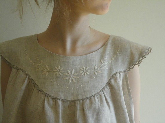 Linen wide night robe/ Linen gown long with hand-embroidery