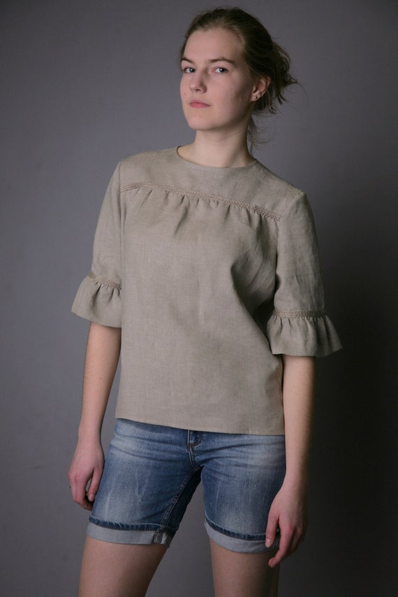 Pure Linen Natural Blouse for Woman