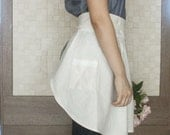 Natural Beige Linen Cafe Apron with Lace detail