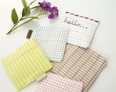 Set of 5 Fabric Drink Coasters with Notebook and Letter Prints