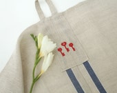 Linen Tea Towel with Blue Stripes and Key Embroidery