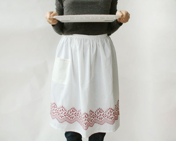 Cafe Apron with Red Embroidery