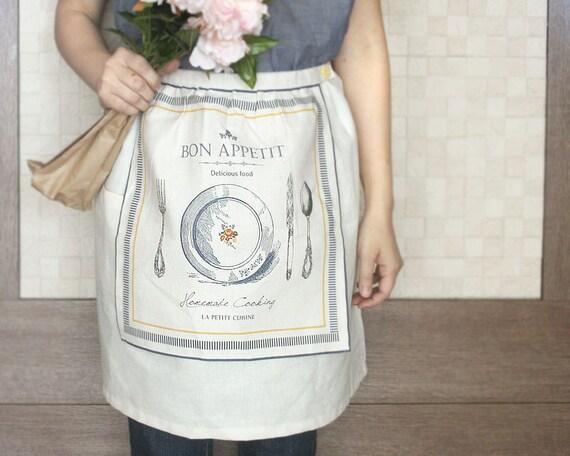 Linen Double Layered Cafe Apron Bon Appetit with Detachable Tea Towel