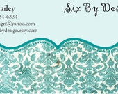 Vintage Turquoise Business Card Design Digital Image