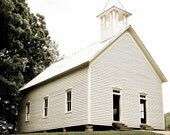 Old Church Photography-Landscape Photograph-Aged Photo Look-Great Smoky Mountains-Fine Art Photography-8x10 Print