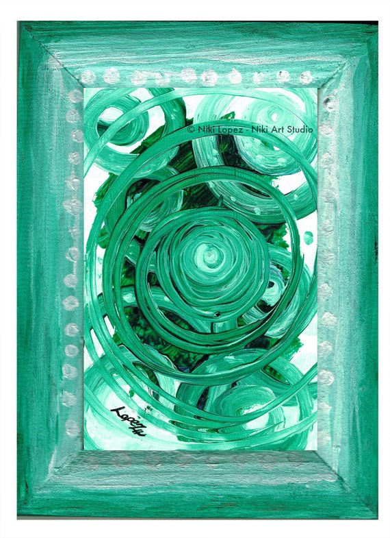 Odyssey II -original painting on recycled paper w/ hand painted wooden frame