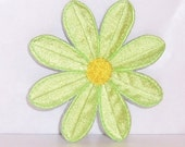 Upcycled Reclaimed Green Flower With Yellow Center Machine Embroidered Applique Iron Only