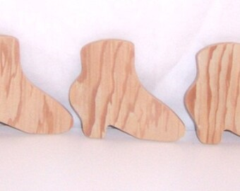 Victorian Boot Cutouts, Upcycled Unfinished Wood Set of Five