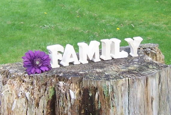 FAMILY Free Standing Chunky Reclaimed Pine Unfinished Handcut Letters Size 3 Inches Tall By 1.5 InchesThick