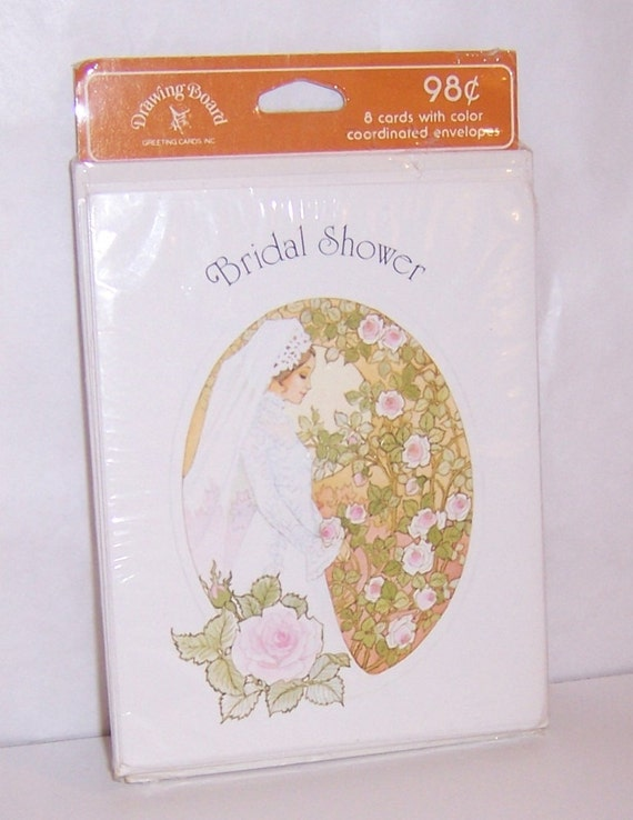 Vintage Bridal Shower Invite Cards Set Of 8 Cards And Envelopes Unopened