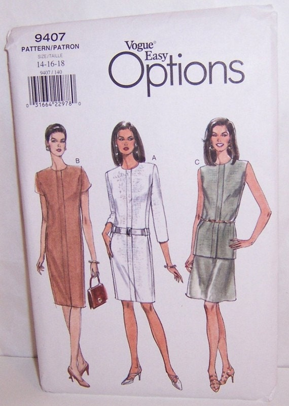 Vogue 1996 Uncut Easy Options Misses Dress Top And Skirt Sizes 14 16 18 Pattern Number 9407