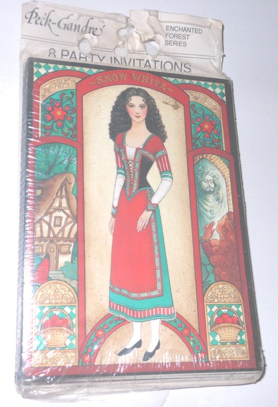 Vintage Snow White Come Celebrate Invite Cards From Enchanted Forest Series From 1990 Set Of 8 Cards