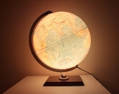 """Vintage Replogle 12""""  Globe Lamp With Wood Stand"""