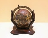 Vintage Small Wooden Globe with Leather Cover Stand For Desk.