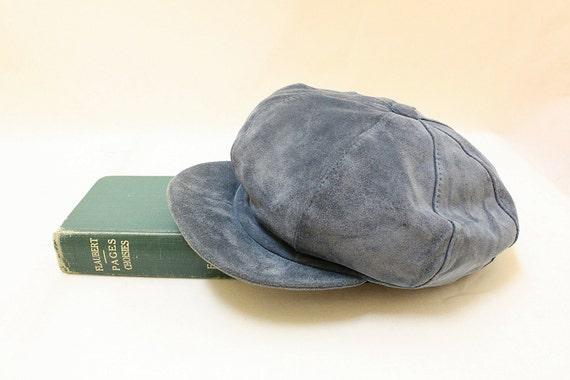 Vintage Blue Color Suede Leatehr Hat