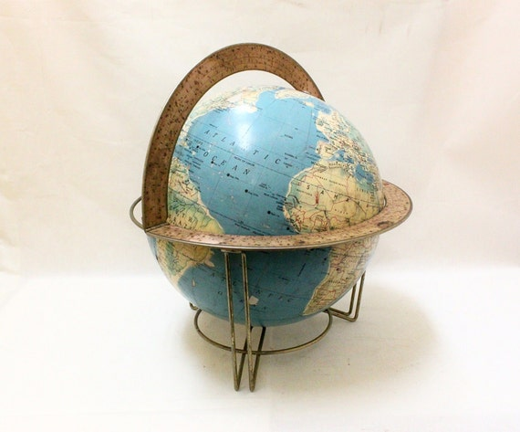 1960s Vintage Globe with Metal Stand by Rand McNally Centennial Twelve Globe