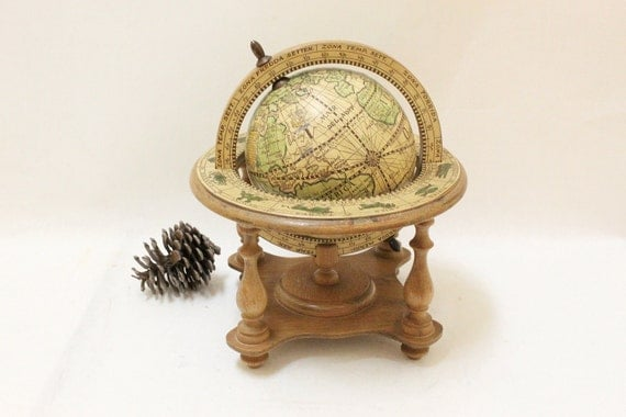 Vintage Small Wooden Globe Stand For Desk // Made in Italy