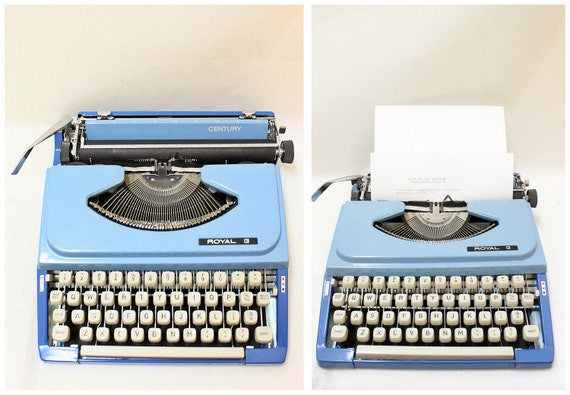 Vintage Royal Century Blue Painting Portable Typewriter with Cover // Made in Japan