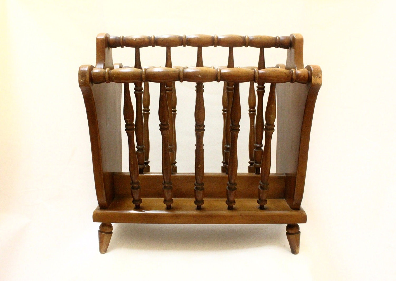 Beautiful antique wooden magazine rack stand holder by