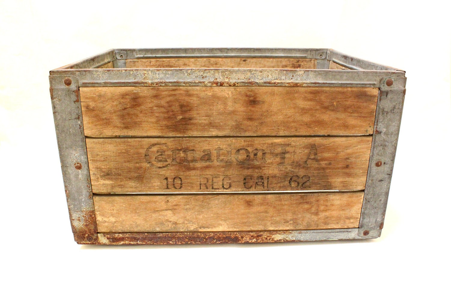 Vintage carnation milk wood crate box with metal straps for Metal shipping crate