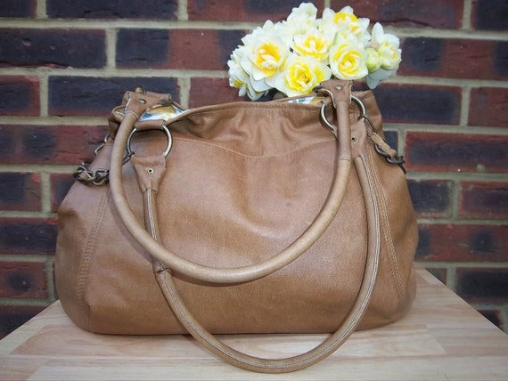 Recycled Leather bag - Tan leather shoulder/purse/tote bag with chain detail.