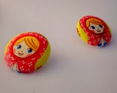 Cute matryoshka Russian dolls button earrings