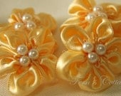 Light Orange Gold Satin Flower - 10pcs