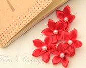 Red Satin Ribbon Flower - 10 PCS - FREE SHIPPING