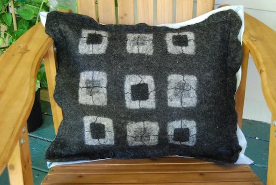 Wet Felted Pillow in Blacks & Greys
