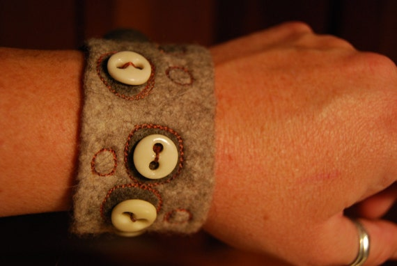 Felt Cuff with Vintage Buttons