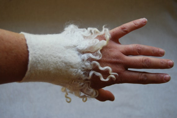 White Felt Cuff With Mohair Locks