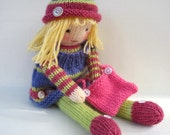 Betsy Button - toy doll knitting pattern - INSTANT DOWNLOAD