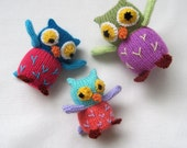 Owl Family - toy animal knitting pattern - PDF INSTANT DOWNLOAD
