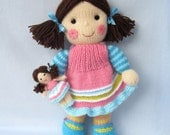 Maisie and her little doll - toy dolly knitting pattern - INSTANT DOWNLOAD