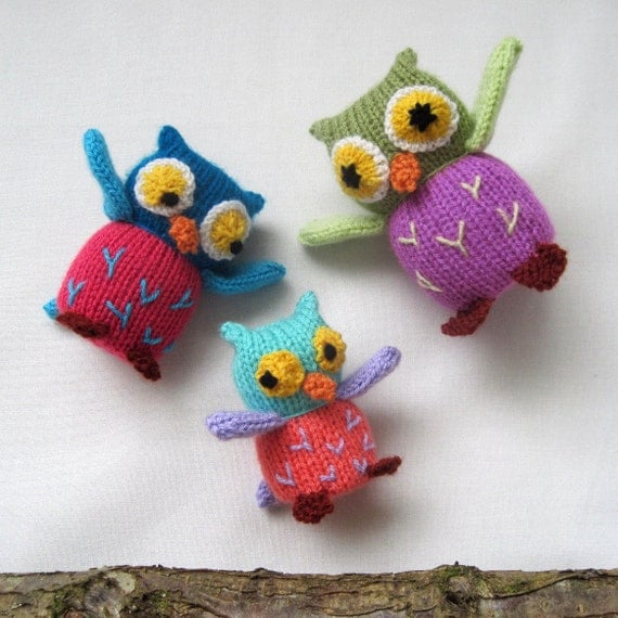 Free Crochet Pattern Owl Family : Owl Family toy animal knitting pattern INSTANT by toyshelf
