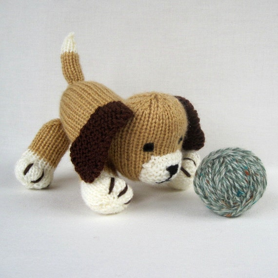 Muffin the puppy - toy dog knitting pattern - PDF INSTANT DOWNLOAD from toysh...