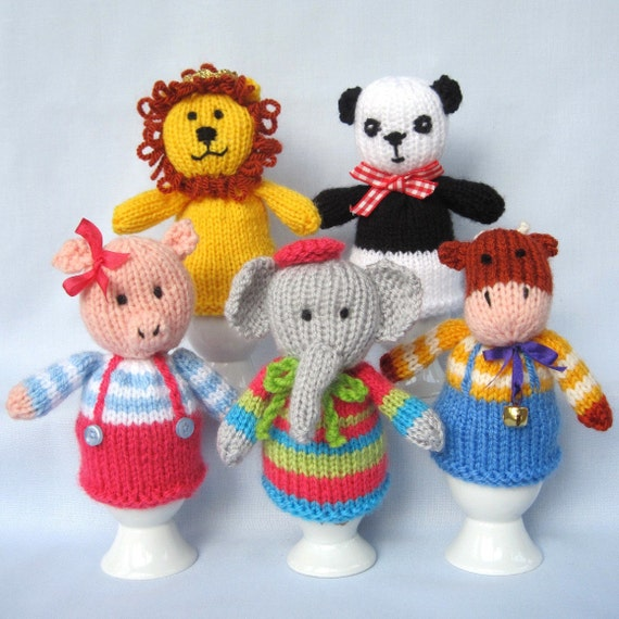 Cute Animal Heads for knitted egg cozy, pencil topper ...