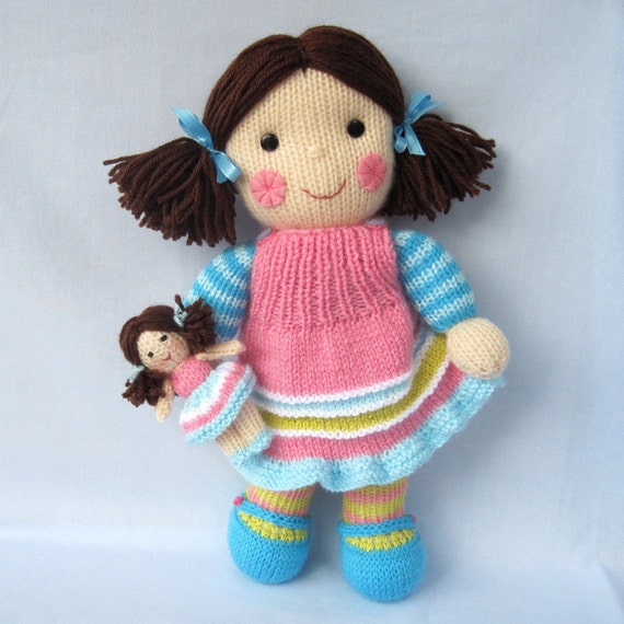 Maisie and her little doll toy dolly knitting pattern by toyshelf