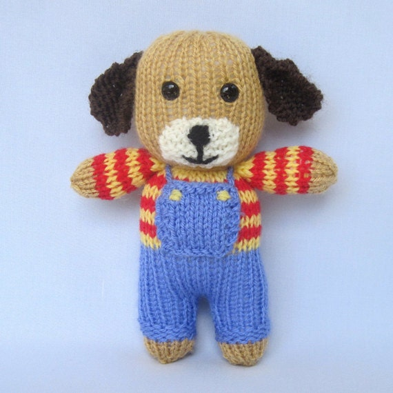 Easy Knit Boot Cuff Pattern Free : Peanut the puppy knitted toy animal doll INSTANT by toyshelf