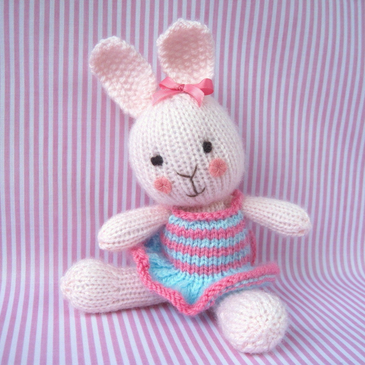 Knitted Rabbit Pattern : Candytuft toy bunny rabbit doll knitting pattern PDF