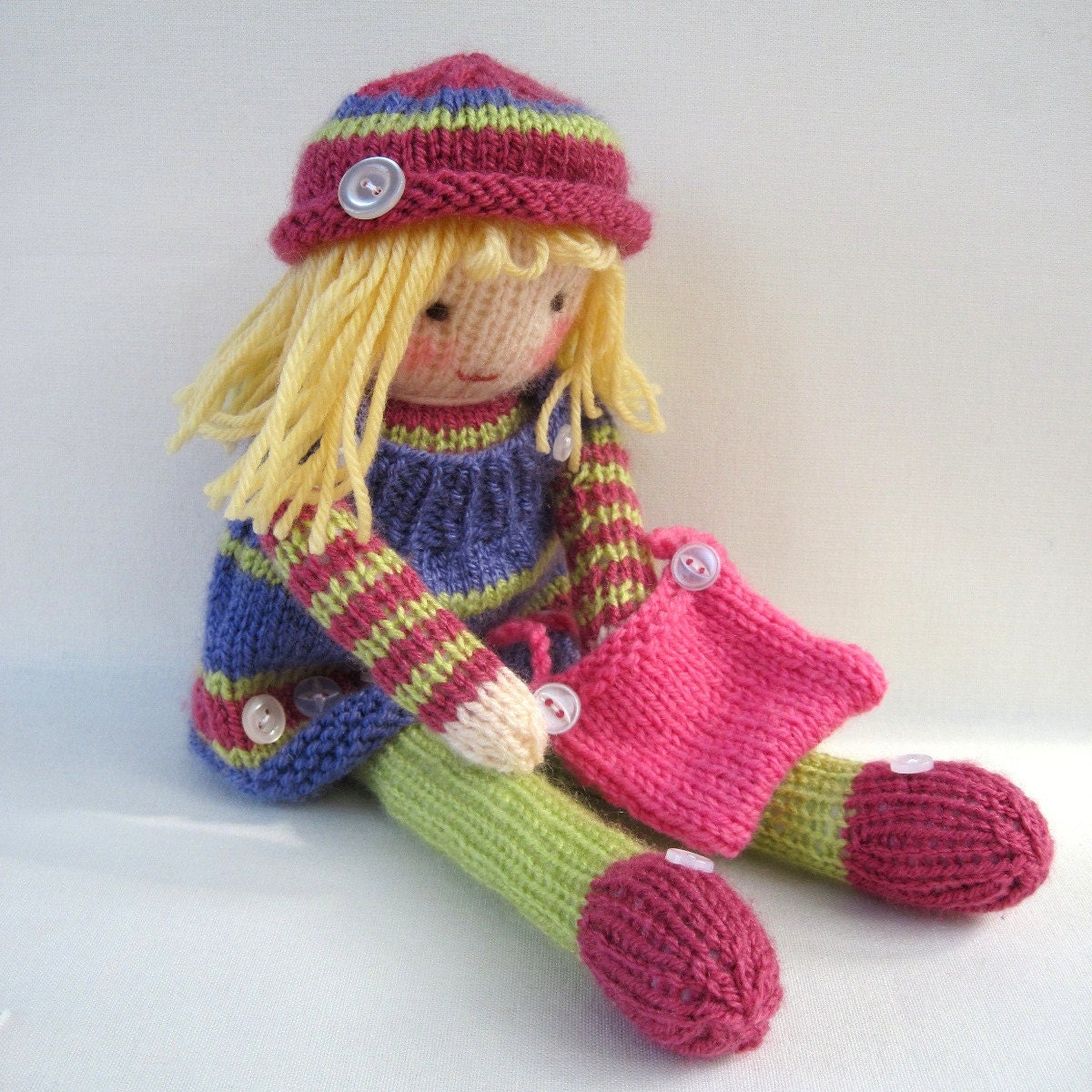 Free Knitted Doll Pattern : Betsy Button toy doll knitting pattern PDF INSTANT