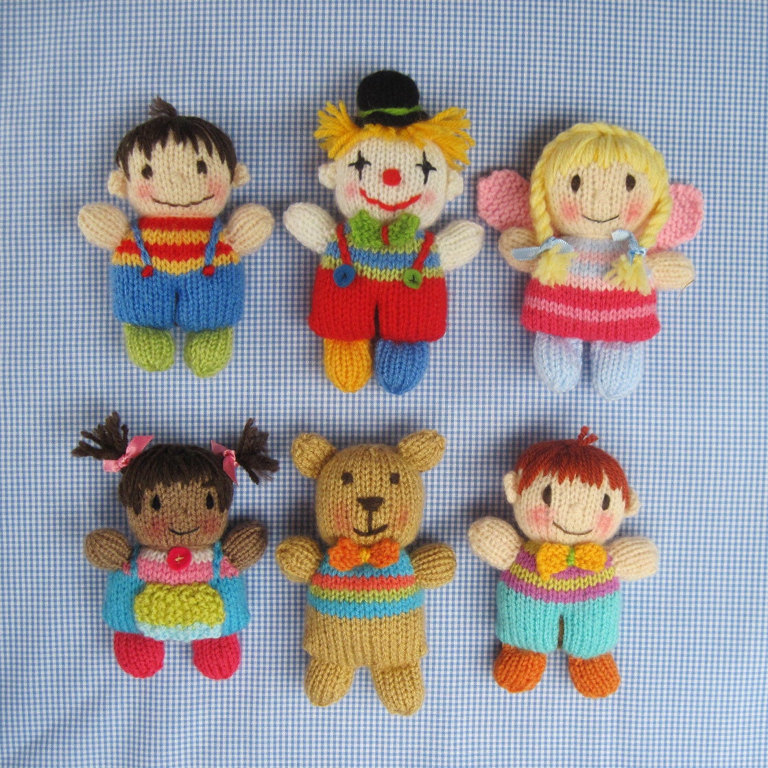 Knitting Patterns For Dolls And Teddy Bears : Toyshelf Tots toy girls boys fairy clown and teddy bear