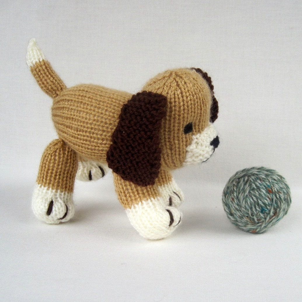 Free Toy Knitting Patterns Only : Muffin the puppy toy dog knitting pattern PDF by toyshelf