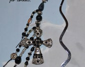 Clearance SALE Christmas Ready to Ship Pewter Cross Beaded Metal Bookmark